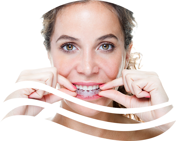 woman putting on her Invisalign clear aligners